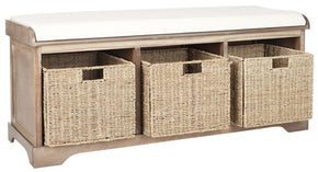 Lonan Wicker Storage Bench Grey Wash / White