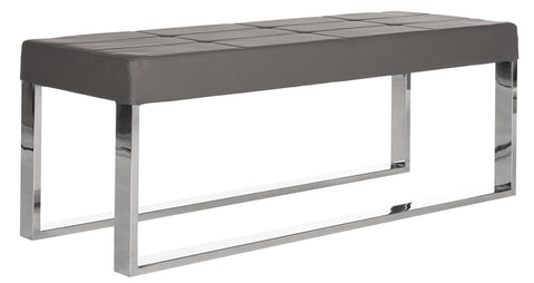 Marc Bench Grey Leather And Polished Stainless Steel