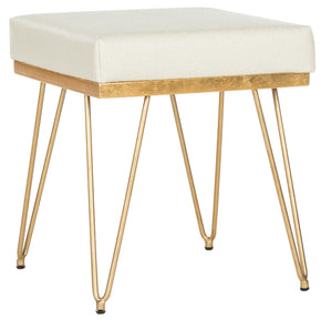 Jenine Faux Ostrich Square Bench Cream