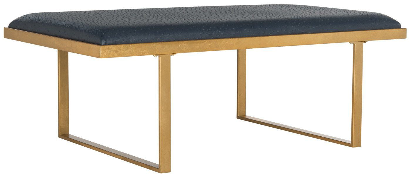 Magnificent Buy Safavieh Fox6251B Millie Loft Bench Coffee Table Navy Gold At Contemporary Furniture Warehouse Creativecarmelina Interior Chair Design Creativecarmelinacom