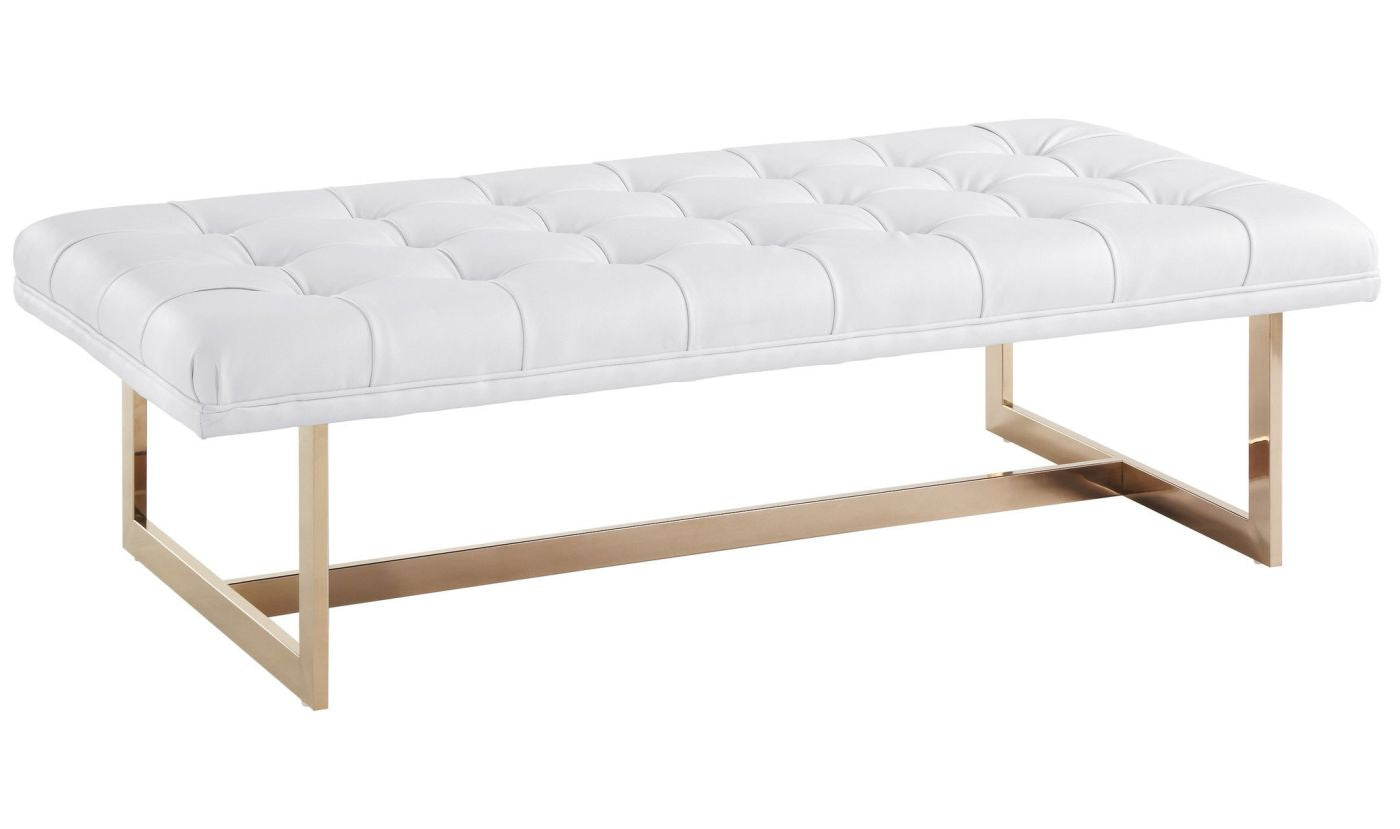 Tov Furniture TOV-O52 Oppland white eco leather bench with gold ...