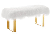 Sherpa Sheepskin Fur Bench With Gold Legs