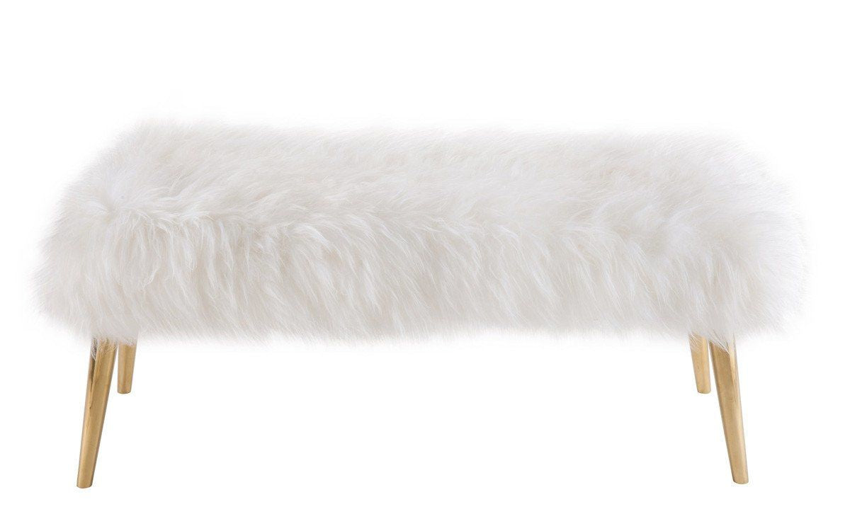 sheepskin brown furniture grande benches tov lucite products by luxe fur bench