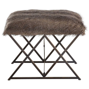 Brannen Plush Faux Fur Small Bench