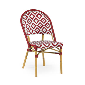 DesignLab MN LS-3002-REDWHT de La Paix Aluminum Bamboo Stackable Side Chair 655222620699