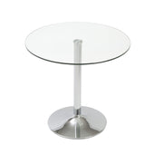 Talia Round Bistro Table With Clear Tempered Glass Top And Chrome Base