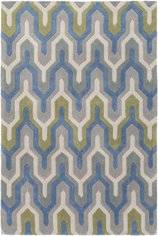 Black & Greys, Blues, Geometric, Greens, Ivory & Whites, Rugs - Surya COS9288-23 Cosmopolitan Geometric Area Rug Blue, Gray | 888473472339 | Only $72.60. Buy today at http://www.contemporaryfurniturewarehouse.com