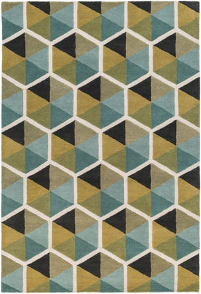Kennedy Geometric Area Rug Blue
