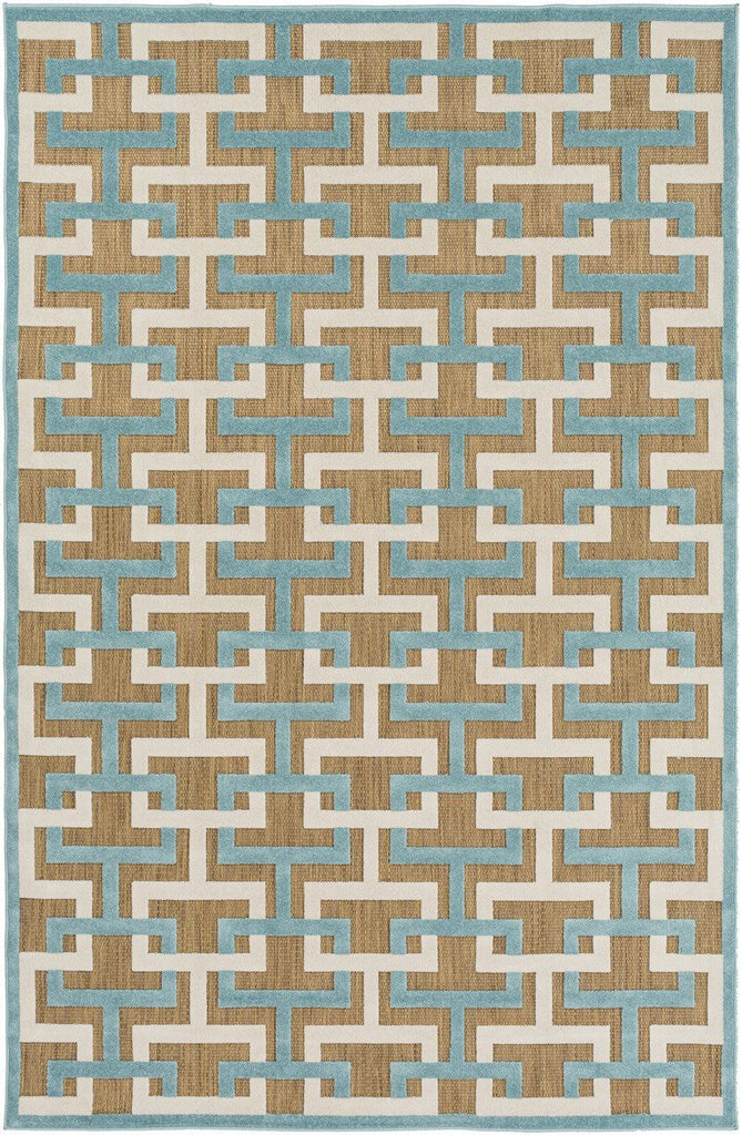 Portera Geometric Area Rug Blue Gray