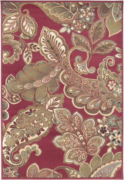 Riley Floral And Paisley Area Rug Red