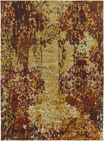 Brocade Medallion And Damasks Area Rug Yellow Brown Multi-Color