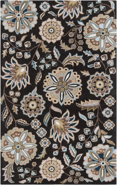 Athena Floral And Paisley Area Rug Black