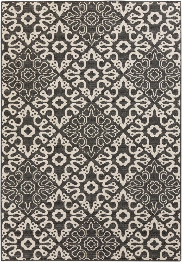 Black & Greys, Contemporary, Indoor/Outdoor, Ivory & Whites, Rugs - Surya ALF9637-23119 Alfresco Area Rug Black | 764262753110 | Only $89.40. Buy today at http://www.contemporaryfurniturewarehouse.com