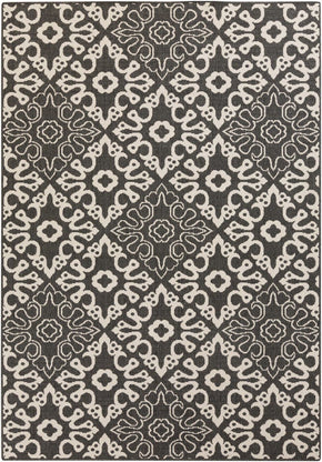 Black & Greys, Contemporary, Indoor/Outdoor, Ivory & Whites, Rugs - Surya ALF9637-23119 Alfresco Area Rug Black | 764262753110 | Only $43.80. Buy today at http://www.contemporaryfurniturewarehouse.com