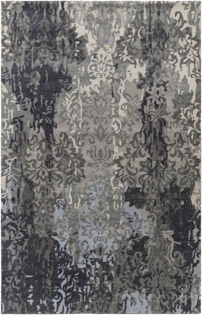 Brocade Medallion And Damasks Area Rug Gray