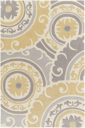 Cosmopolitan Medallion And Damasks Area Rug Yellow Gray