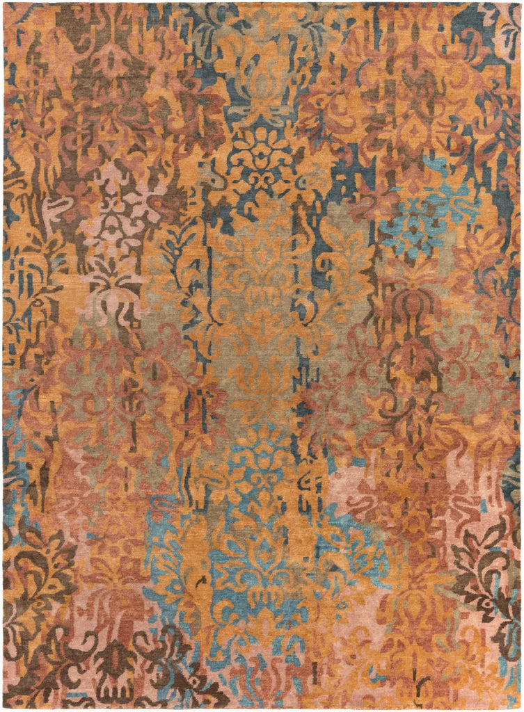 Brocade Medallion And Damasks Area Rug Brown Multi-Color