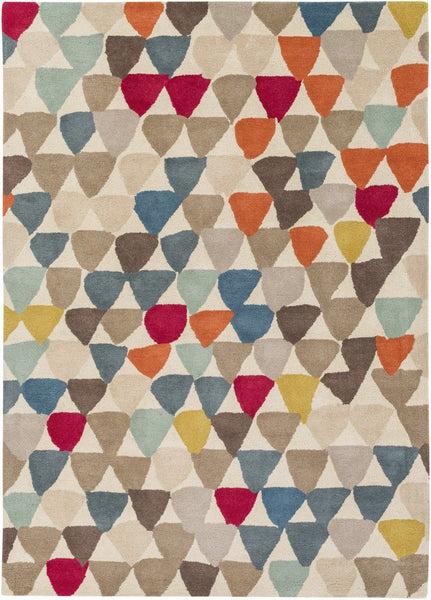 Harlequin Geometric Area Rug Red Pink