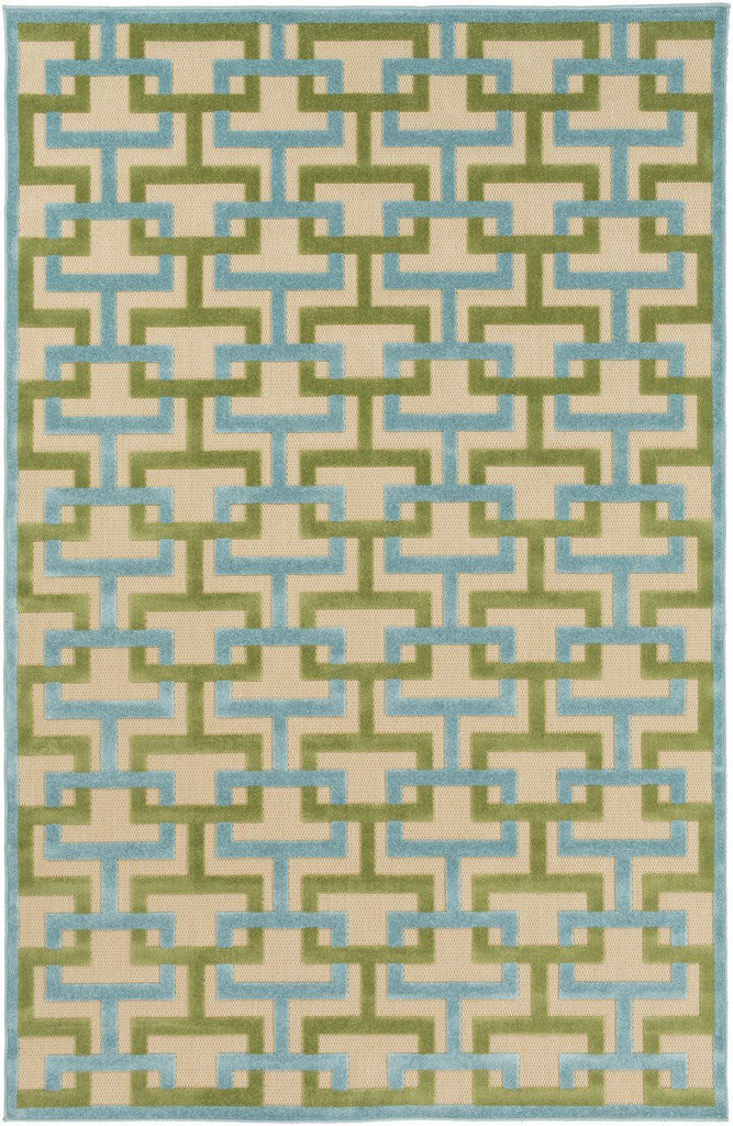 Portera Geometric Area Rug Blue Green