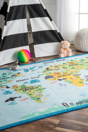 Nuloom Animal World Map Area Rug
