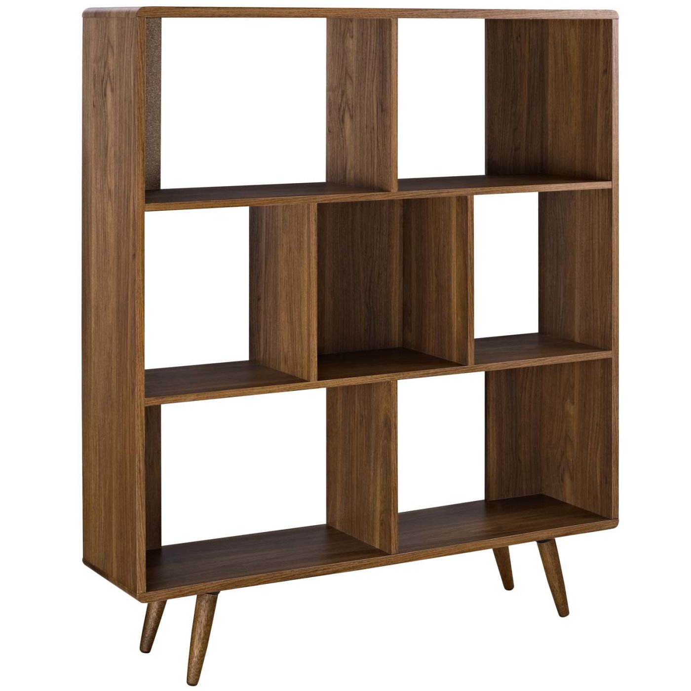 Realm Contemporary Three Tiered Bookcase Smooth Walnut Bokcase