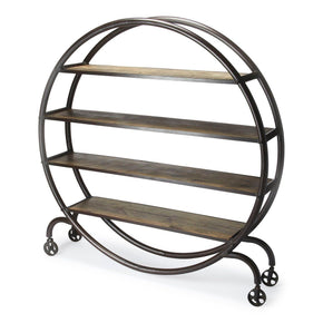 Orion Industrial Modern Round Display Bookcase