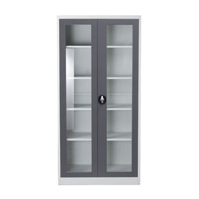 2-Door 5-Shelf Bookcase With Tempered Glass Door Front & Key Lock Entry
