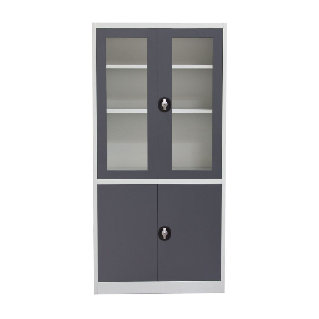 4-Door 5-Shelf Bookcase With Tempered Glass Door Front & Key Lock Entry