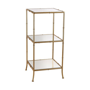 Bamboo Shelving Unit Gold Leaf,mirror Bookcase