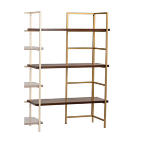 Balart Gold And Walnut Extension For Shelf Unit Walnut,gold Bookcase