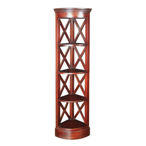 Galloway Corner Shelves Mahogany Stain Bookcase