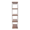 Dillon 40 Shelving Unit With Walnut Shelves And Brushed Stainless Steel Frame Bookcase