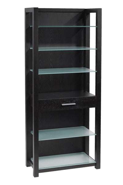 Ballard 5 Shelf Unit In Wenge With Silver Printed Glass Bookcase