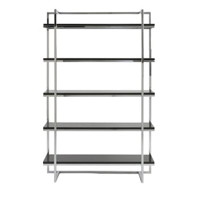 Gilbert 5 Shelf Unit In Black With Chrome Frame Bookcase