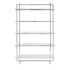 Gilbert 5 Shelf Unit In White With Chrome Frame Bookcase