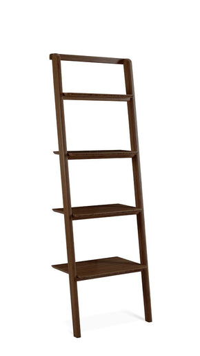 Currant Leaning Bookshelf Bamboo Black Walnut Bookcase