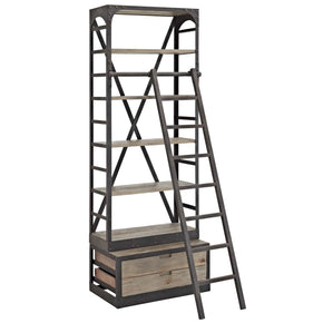 Velocity Industrial Modern Wood Bookshelf Brown Bookcase