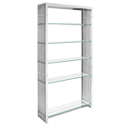 Gridiron Stainless Steel Bookshelf Silver Bookcase