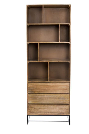 Colvin Shelf W/drawers Solid Mango Wood Iron Bookcase