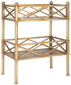 Jamese Storage Shelves Gold Bookcase