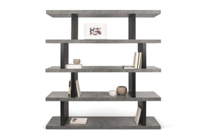 Step High Faux Concrete / Pure Black Bookcase