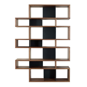 London Composition 2010-003 Walnut Frame Pure Black Backs Bookcase