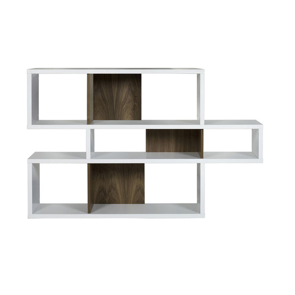 London Composition 2010-001 Pure White Frame Walnut Backs Bookcase