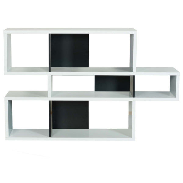 London Composition 2010-001 Pure White Frame Black Backs Bookcase