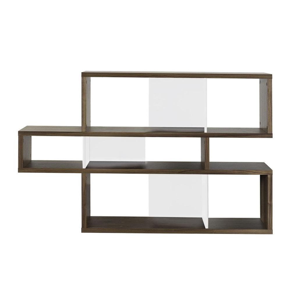 London Composition 2010-001 Walnut Frame Pure White Backs Bookcase