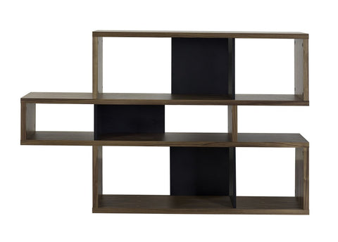 London Composition 2010-001 Walnut Frame Pure Black Backs Bookcase
