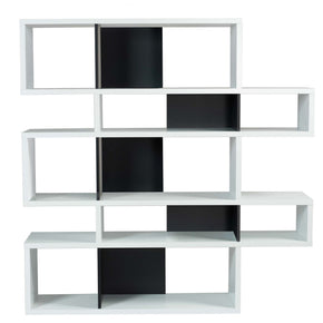 London Composition 2010-002 Pure White Frame Black Backs Bookcase