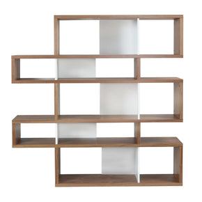 London Composition 2010-002 Walnut Frame Pure White Backs Bookcase