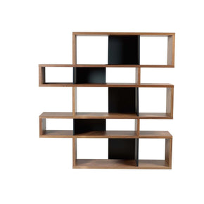 London Composition 2010-002 Walnut Frame Pure Black Backs Bookcase
