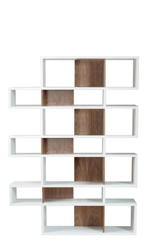 London Composition 2010-003 Pure White Frame Walnut Backs Bookcase